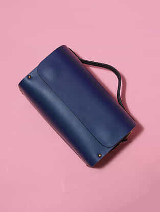 Blue Handcrafted Genuine Leather Sling Bag
