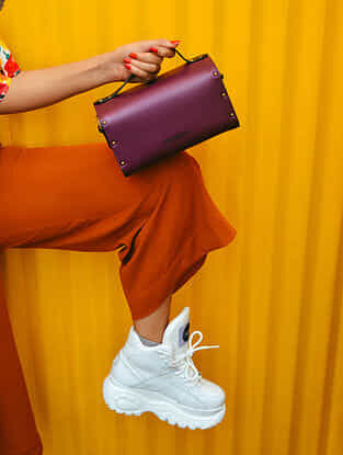 Purple Handcrafted Genuine Leather Sling Bag