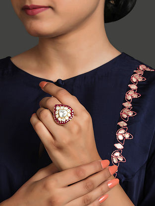 Maroon Gold Plated Vellore Polki Silver Ring