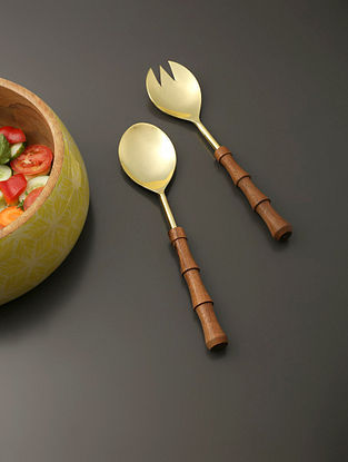 Gold Salad Server With Wooden Handle (Set Of 2) (L- 10.5in)