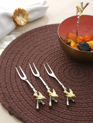 Silver And Gold Forks With Sparrow Design On Handle (Set Of 4) (L- 4.75in)