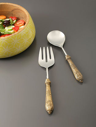 Silver And Antique Gold Salad Servers With Metal Handle (Set Of 2) (L- 10.5in)