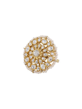 White Gold Plated Vellore Polki Silver Ring