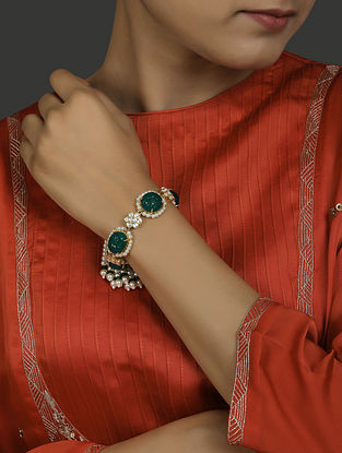 Green Gold Plated Vellore Polki Silver Bracelet
