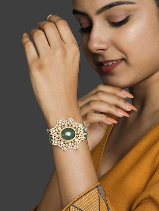 Gold Plated Vellore Polki Silver Bracelet