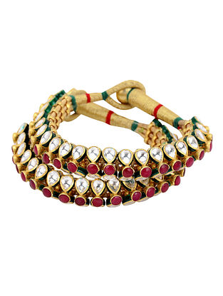 Gold Plated Vellore Polki Silver Bracelet - Set of Two (Size 2/3)