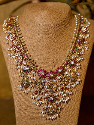 Gold Plated Vellore Polki Silver Necklace with Pearls