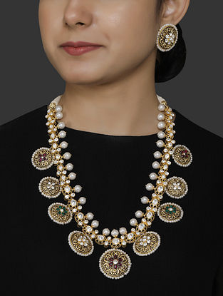 Gold Plated Vellore Polki Silver Necklace Set