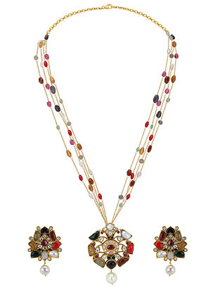 Gold Plated Silver Necklace Set with Navrattan