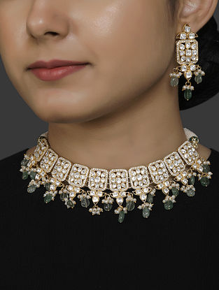 Gold Plated Vellore Polki Silver Necklace Set with Pearls