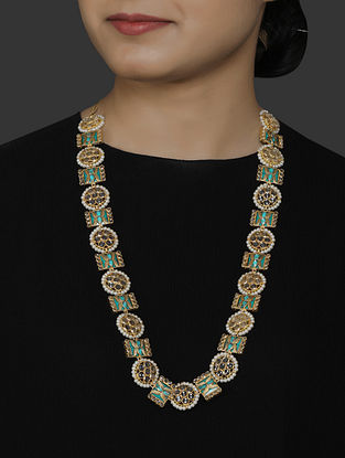 Gold Plated Vellore Polki Silver Necklace