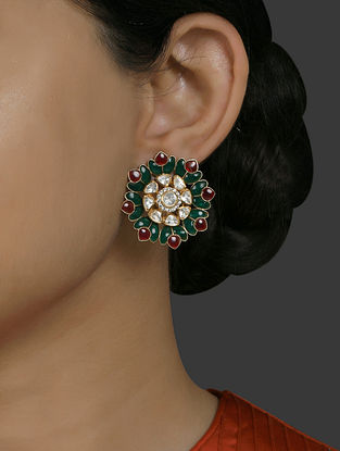 Green Gold Plated Vellore Polki Silver Earrings