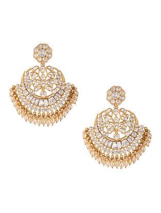 White Gold Plated Vellore Polki Silver Earrings