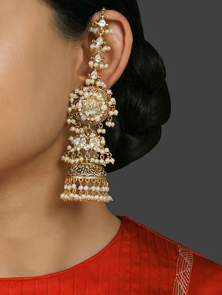 Gold Plated Vellore Polki Silver Earrings