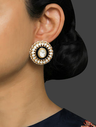 Blue Gold Plated Vellore Polki Silver Earrings