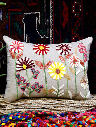 Embroidered Floral Decorative Cushion Cover (14in x 18in)