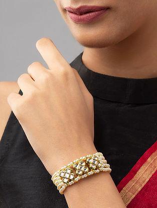 White Gold Tone Kundan Beaded Bracelet