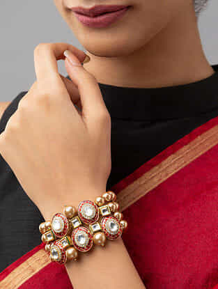 Red Gold Tone Kundan Beaded Bracelet With Pearls