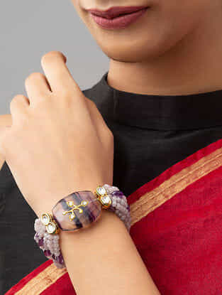 Purple Gold Tone Kundan Beaded Bracelet With Amethyst And Agate