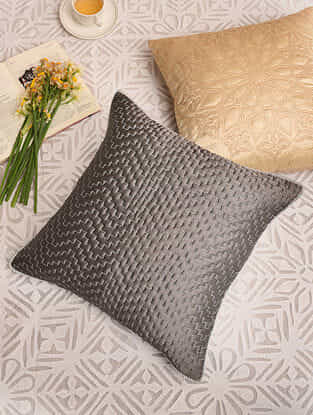 Silver Grey Satin Festive Cushion Cover (L-16in,W-16in)