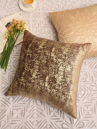Golden Brown Velvet Festive Cushion Cover (L-16in,W-16in)