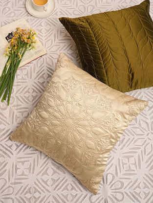 Ecru Satin Festive Cushion Cover (L-16in,W-16in)