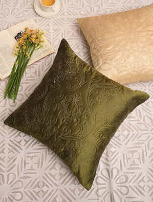 Olive Green Satin Festive Cushion Cover (L-16in,W-16in)