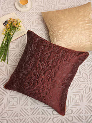 Mulberry Red Satin Festive Cushion Cover (L-16in,W-16in)