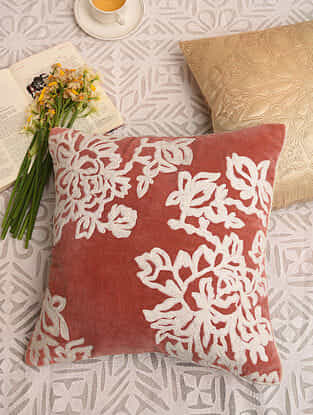 Rust Orange Velvet Festive Cushion Cover (L-16in,W-16in)