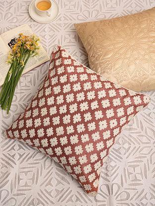 Burgundy Poly Dupion Festive Cushion Cover (L-16in,W-16in)