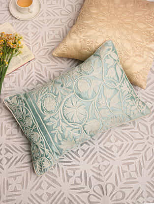Mint Green Poly Dupion Festive Cushion Cover (L-18in,W-12in)