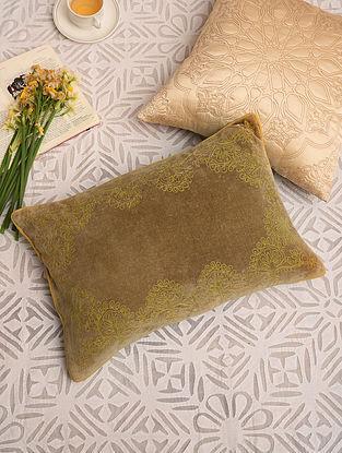 Olive Green Velvet Festive Cushion Cover (L-18in,W-12in)