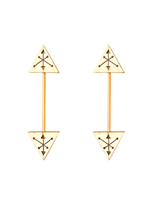White Gold Plated Handcrafted Teakwood Earrings