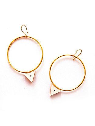White Gold Plated Handcrafted Teakwood Hoop Earrings