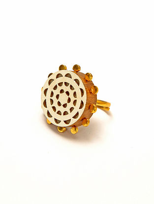White Gold Plated Handcrafted Teakwood Adjustable Ring