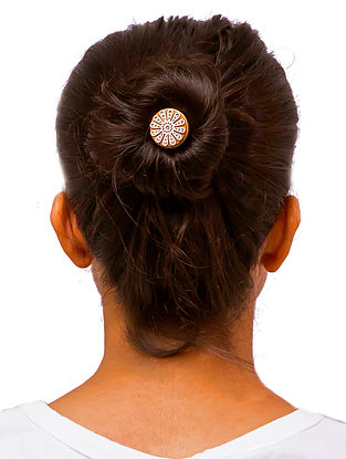 White Gold Plated Handcrafted Teakwood Hair Pin
