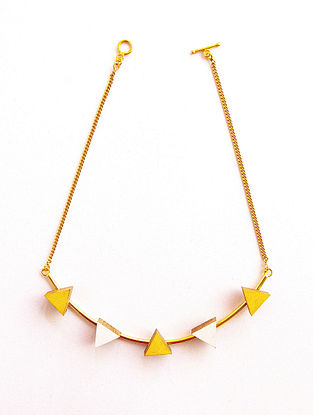White Yellow Gold Plated Handcrafted Teakwood Necklace