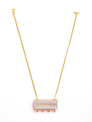 White Gold Plated Handcrafted Teakwood Necklace