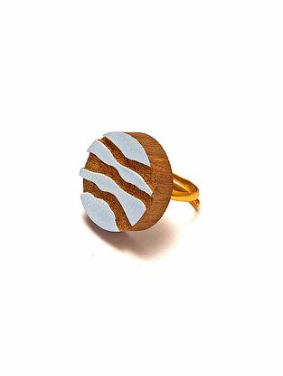 Blue Gold Plated Handcrafted Teakwood Adjustable Ring