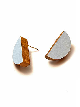 Blue Gold Plated Handcrafted Teakwood Earrings