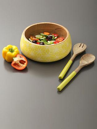 Lime Green And Natural Wood Salad Bowl And Salad Servers (Set Of 3)