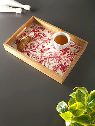 White, Red And Mango Wood Tray (L- 14in, W- 10in, H- 2in)