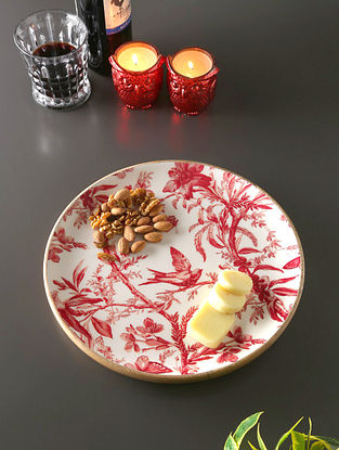 White, Red And Mango Wood Circular Plate (H- 1in, Dia- 11.5in)