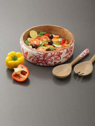 White, Red And Mango Wood Salad Bowl (H- 3in, Dia- 9.75in)