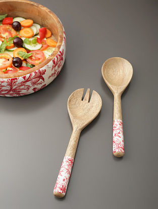 White, Red And Mango Wood Salad Servers (Set Of 2) (L- 10in)