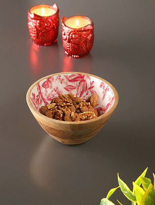 White, Red And Mango Wood Bowl (H- 3in, Dia- 6in)