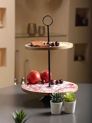 White, Red And Natural Wood Cake Stand (H- 18in, Dia- 12in)