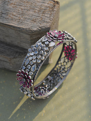 Pink Tribal Silver Bangle (Size: 2.6)