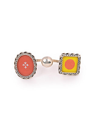 Red Yellow Tribal Silver Ring