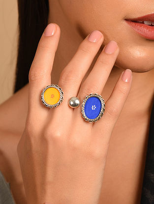 Yello Blue Tribal Silver Adjustable Ring
